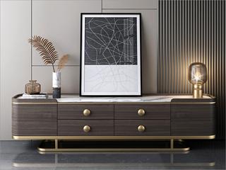 轻奢风格 不锈钢封釉镀钛金 E1级环保标准MDF板材 环保油漆+大理石2.0米电视柜(不含边柜)