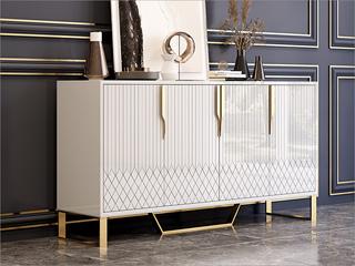 轻奢风格 高级密度板钢琴烤漆柜子 不锈钢架子 玻璃1.2m餐边柜