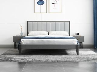 北欧风格 布纹铁灰 耐用实木框架 浅灰超纤皮靠背 1.8m床
