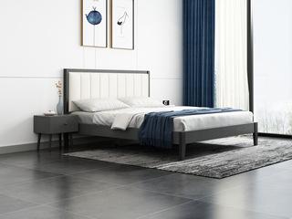 北欧风格 布纹铁灰 耐用实木框架 雅白超纤皮靠背 1.8m床