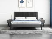 艺家 北欧风格 布纹铁灰 耐用实木框架 雅黑超纤皮靠背 1.8m床