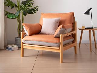 北欧风格 榉木坚固框架 科技布面料 原木色单人沙发