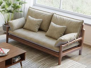 北欧风格 榉木坚固框架 科技布面料 胡桃色双人位沙发