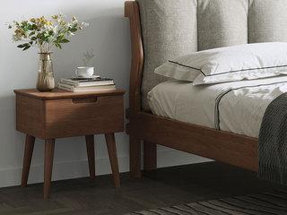 北欧风格 榉木坚固框架 胡桃色 床头柜