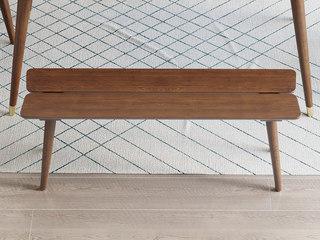 北欧风格 榉木坚固框架 胡桃色 长条凳