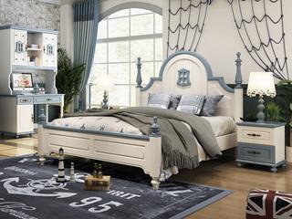柏莎贝尔 简美风格 优质橡胶木 环保健康 坚固耐用 孩子放心睡 1.5m儿童床