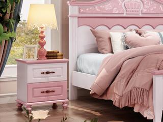 简美风格 优质橡胶木 环保健康 青春粉白儿童床头柜