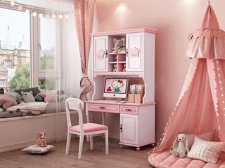 简美风格 优质橡胶木 环保健康 青春粉白 儿童书桌书架组合