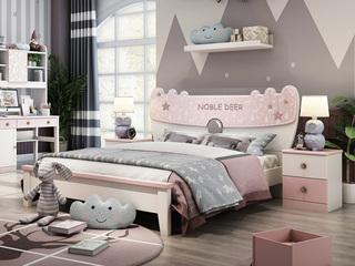 简美风格 优质橡胶木 环保健康 坚固耐用 1.5m儿童床