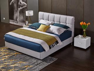 现代简约 优质棉麻 实木框架 高弹海绵 优雅浅灰1.8*2.0m双人床