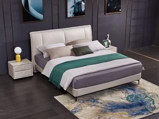 现代简约 科技布 实木框架 高弹海绵 米白色 1.8*2.0m双人床