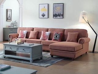简美风格 优质麻布面料 百搭转角沙发(1+3+左贵妃)
