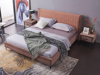 现代简约 科技绒布 实木框架 加固钢木排骨架 高弹海绵 橙色 咖色床 1.8*2.0米床