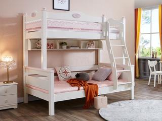 简美风格 泰国进口橡胶木 浅粉+白色 1.5m上下床(含书架)