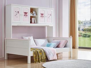 简美风格 泰国进口橡胶木 浅粉+白色 1.2m 衣柜床