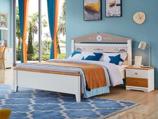 简美风格 泰国进口橡胶木 蜜桃金+白色床(1.5*2.0米床)