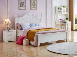 简美风格 泰国进口橡胶木 白色床(1.5*2.0米床)