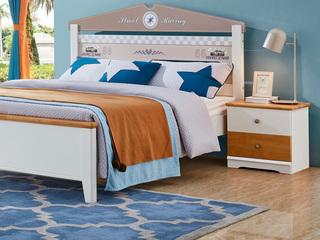 简美风格 泰国进口橡胶木 蜜桃金色+白色 床头柜