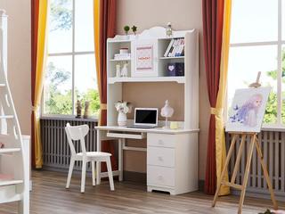 简美风格 泰国进口橡胶木 浅粉+白色三抽直角书台(含键盘架)