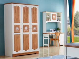 简美风格 泰国进口橡胶木 蜜桃金+白色三门衣柜