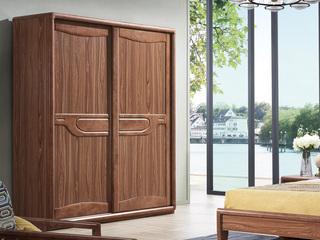 中式风格 泰国进口橡胶木 胡桃色 9002 趟门衣柜