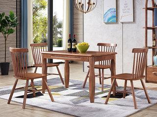 中式风格 泰国进口橡胶木 胡桃色 9001 木面餐台