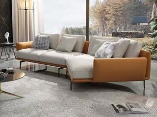 极简风格 高弹舒适 科技皮+棉麻面料 俄罗斯进口落叶松坚固框架 转角沙发(3+左转角)