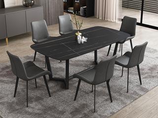 极简风格 直边圆角岩板台面 碳素金属脚 1.6米餐桌