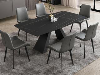 极简风格 高颜值技术岩板桌面(马肚形+圆角直边) 碳素钢框架(磨砂烤漆工艺)1.3米餐桌