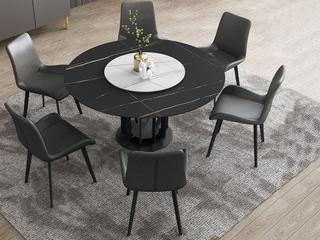 极简风格 高颜值技术岩板桌面 碳素钢框架(磨砂烤漆工艺)1.58米圆餐桌(含转盘)