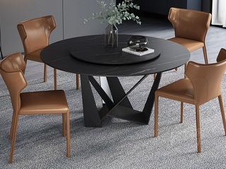 极简风格 高颜值技术岩板桌面 碳素钢框架 磨砂烤漆工艺 1.0米圆餐桌(含转盘)