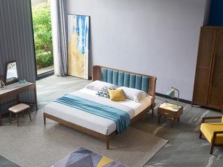 北欧风格 北美进口白蜡木 坚固耐用 亲肤棉麻 弧面床头设计 1.8*2.0m双人床