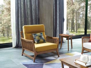 北欧风格 北美进口白蜡木 亲肤棉麻 糖果黄 单人沙发