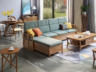 北欧风格 北美进口白蜡木 稳固承重 吸湿透气棉麻 四人沙发(不含脚踏)