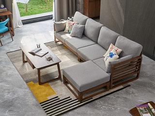 北欧风格 北美进口白蜡木 光滑细腻扶手 精选优质棉麻 四人沙发