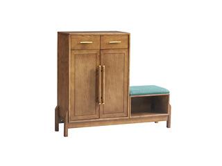 北欧风格 精选白蜡木 优雅木纹 实木臻品 带坐凳鞋柜