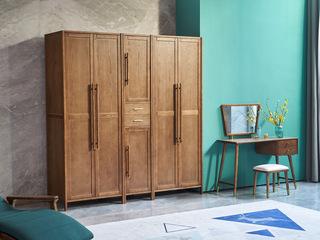 北欧风格 精选白蜡木 清晰木纹 沉稳大气 实木臻品 稳固承重 双门衣柜(左侧)