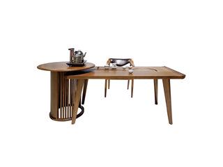 北欧风格 北美进口白蜡木 坚固实木框架 光滑细腻触感 实木茶台组合