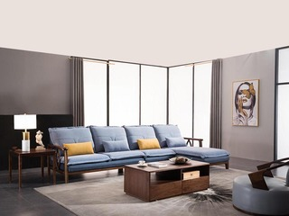 意式极简 胡桃木框架 优质科技布 密度海绵 强力弹簧 转角沙发(1+3+左贵妃)