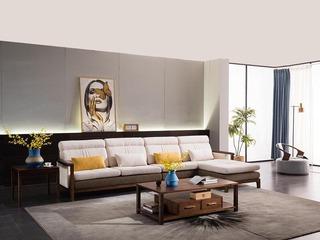 意式极简 质朴自然 雅致胡桃木 透气麻布 密度海绵 优质弹簧 转角沙发(1+3+左贵妃)