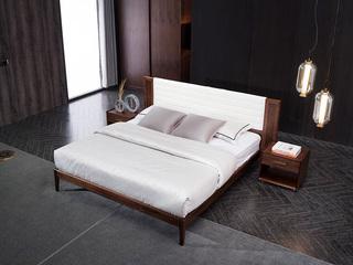 意式极简 优质胡桃木 耐磨耐腐 清晰木纹 亮白超纤皮 舒适靠包1.8*2.0m床