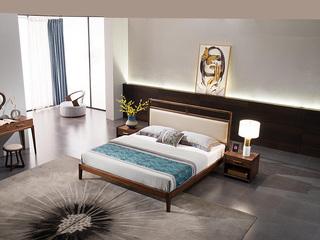 意式极简 细腻胡桃木 经久耐用 优质超纤皮靠包 1.8*2.0m床