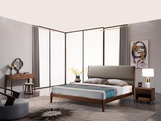 意式极简 细腻胡桃木 经久耐用 超纤皮靠包 1.8*2.0m双人床