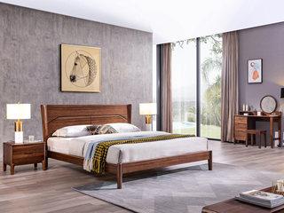 意式极简 清晰天然木纹 胡桃木框架 简约线条雕刻床头 1.8*2.0m床