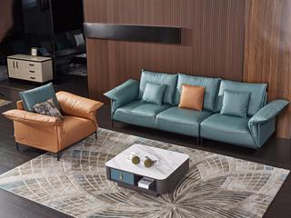 现代简约 科技布 松木底架 珊瑚兰+黄色 沙发组合(1+3+双扶手单椅)