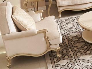 简美风格 北美进口榉木坚固框架 提花布面料 单人位沙发