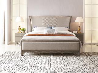 简美风格 北美进口榉木坚固框架 棉麻布面料 松木床板条床 1.8*2.0米床