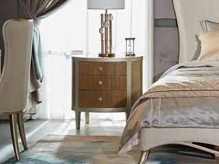 简美风格 北美进口榉木坚固框架 床头柜