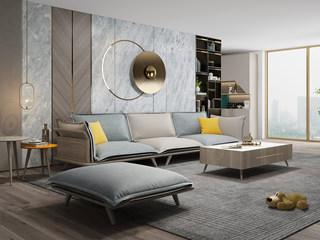 现代简约 精选白蜡木 优质科技布 沙发(四人位+脚踏)