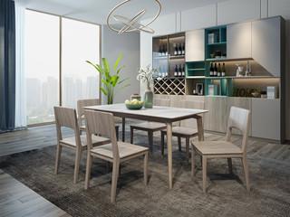 现代简约 北美进口白蜡木 耐高温防火岩板 1.3m餐桌